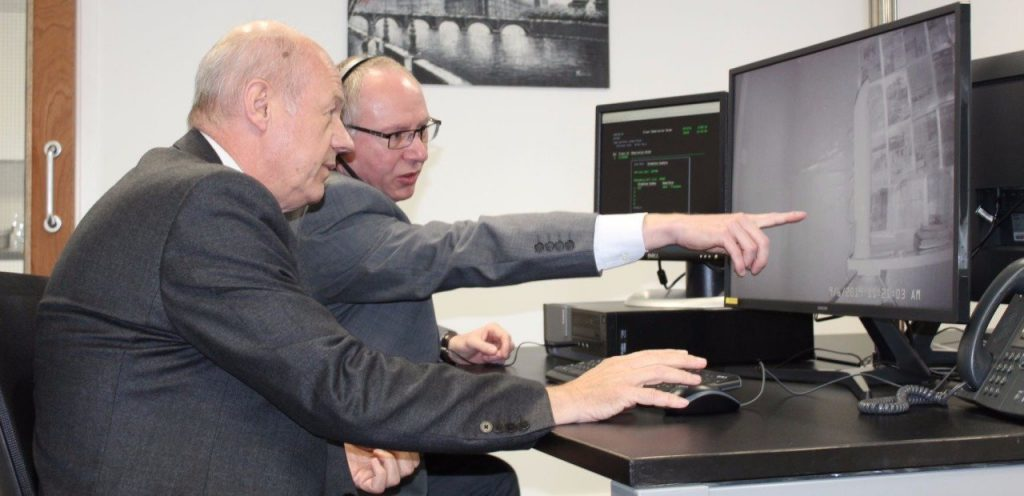 Epiview Nightime Epilepsy monitoring system demonstrated to Damian Green by Jason Hubbard night time camera being demonstrated